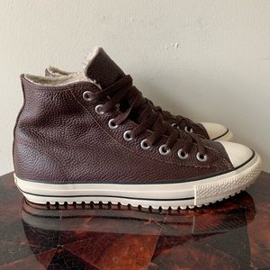 Converse Leather High Top Sherpa Lined Sneakers